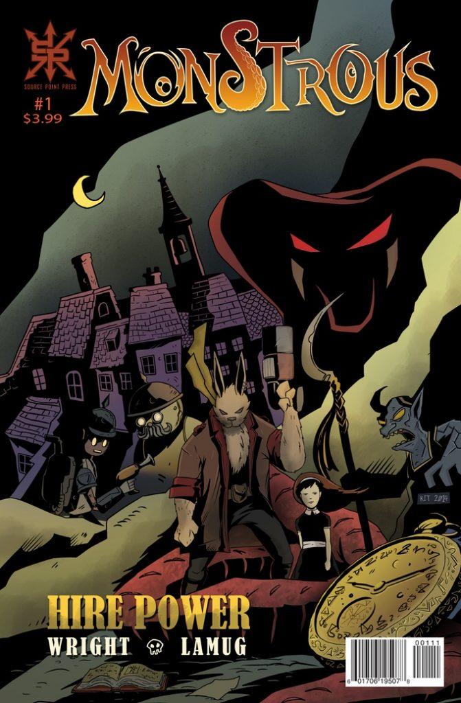"""A comic book written by alumnus Greg Wright, cover says """"MONSTROUS"""" and illustrates several monsters plus a haunted house in background"""