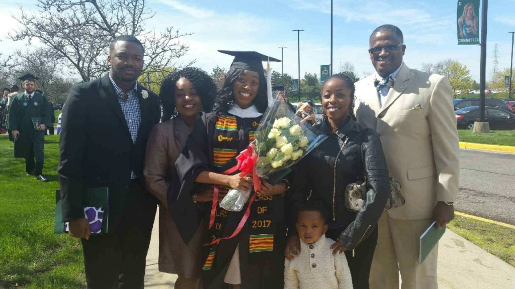 Ja'La Wourman with her family when she earned her M.A. at Eastern Michigan University