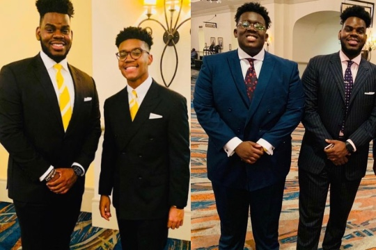 double image of four men (two are the same) all wearing suits and ties