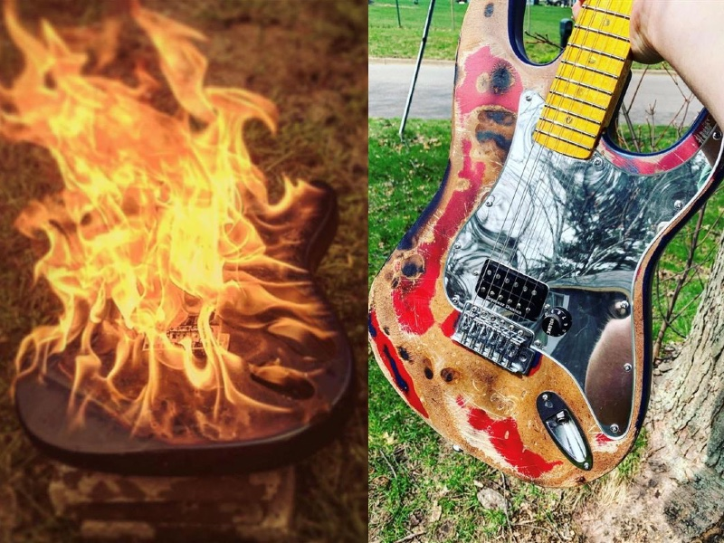 double image of a guitar on fire (left) and then that burned guitar refurbished (right)