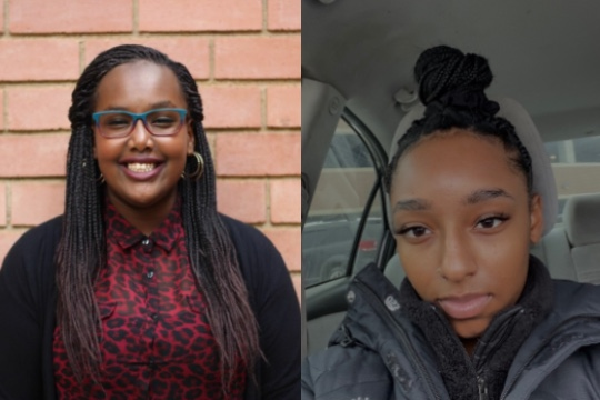 headshots of two girls, on the left a girl with long dark hair wearing glasses, a red top and a black sweater; and on the right a girl with dark hair pulled up in a bun wearing a dark jacket